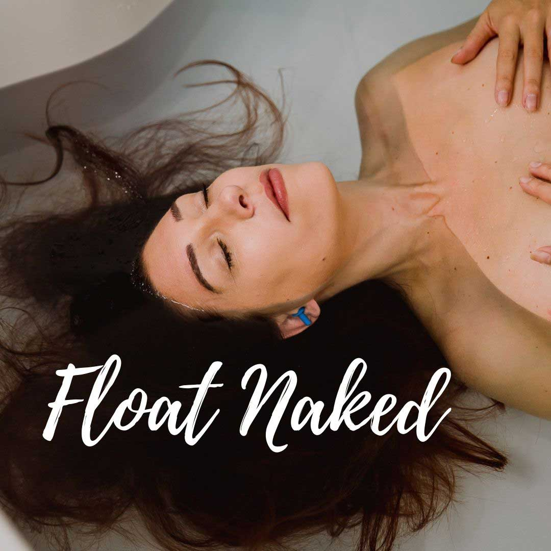 woman floating naked